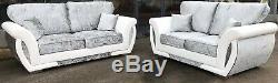 Sofa Genoa Corner 3+2 Armchair Crushed Velvet White/Silver- Fixed Back