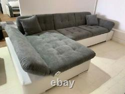Sofa- Malvi L-Shape Corner Sofa bed & Storage- Fabric+Leather -Black /White/Grey