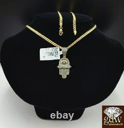 Solid 10k Yellow Gold Diamond Hamsa Hand Charm with 26 Miami Cuban Chain