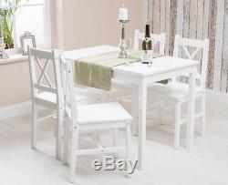 Solid Pine Wood Dining Table and 4 Chairs Set Kitchen Dining Home Furniture