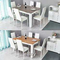 Solid Wood Dining Table Set with6 Faux Leather Chairs Seat Kitchen Home Furniture