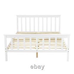 Solid Wooden Pine 4FT6 Double Bed Frame White Slatted Bedframe Bedroom Furniture