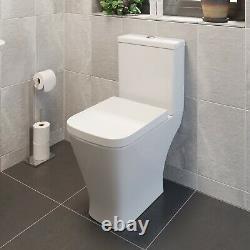 Square Close Coupled Toilet Modern Bathroom White Ceramic Soft Close Seat WC Pan