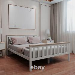 Stylish Double 4ft6 Wooden Bed Frame in White Strong Solid Bedstead Slat Bedroom