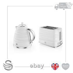 Swan Symphony 1.7 Litre Jug Kettle & 2 Slice Toaster White Set- Brand New