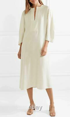 TOTEME Off White Ecru Raw Silk Tunic Midi Dress XS BRAND NEW