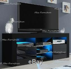 TV Unit Cabinet TV Stand Sideboard Matt Body & High Gloss Doors LED Light