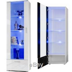 Tall Display Cabinet High Gloss White Glass Shelves Furniture Modern 192cm