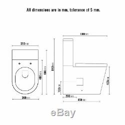 Toilet WC Close Coupled Cloakroom Modern Compact Soft Close Seat Square T4SS
