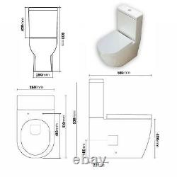 Toilet WC Close Coupled Cloakroom Rimless Bathroom Soft Close Seat 610 T3R 152