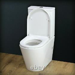 Toilet WC Close Coupled Cloakroom Round Pan Soft Closing Heavy Seat T4SS