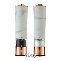 Tower T847005WR Electric Salt & Pepper Mill In Marble & Rose Gold Brand New