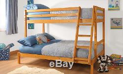 Triple Bunk Bed 3ft & 4ft Wooden Pine with Storage & Mattress Options Durleigh