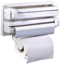 Triple Paper Dispenser For Cling Film Wrap Aluminium Foil Kitchen Roll Holder