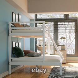 Triple Sleeper Bunk Bed Frame Solid Wood Pine Slatted Bedstead 3FT 4FT6 in White