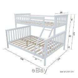 Triple Sleeper Wooden Bunk Bed Frame With Weadboard 3FT Single 4FT6 Double Bed