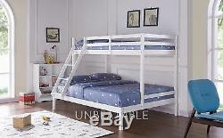 Triple Wooden Bunk Bed Frame Children Kids White Pine Grey