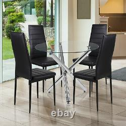 Up to 4 Dining Table + 4 Chairs Tempered Glass&Metal Legs Kitchen Dining Room UK