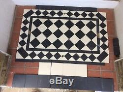 VICTORIAN OLD ENGLISH ORIGINAL STYLE FLOOR TILES BLACK AND WHITE 70 mm
