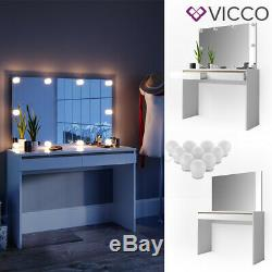 Vicco Dressing Table Emma Vanity Desk Console Table LED White Sonoma + mirror