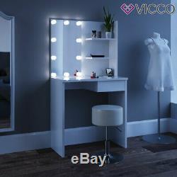 Vicco dressing table Dekos makeup table mirror bedroom white + stool LED