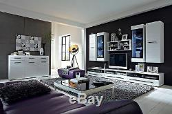 WHITE GLOSS Wall Display Tall Cabinet Glass Door LED Light Black trim Unit Fever