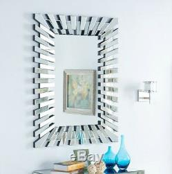 Wall Mirror 3D Sunburst Large Silver Frame Rectangular Modern New Glass Bed Room