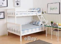 WestWood Bunk Bed Wooden Frame Children Kids Triple Sleeper No Mattress White