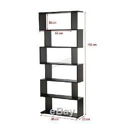 WestWood Modern Book Shelves 6 Tier S Shape Bookshelf Case Storage PB01