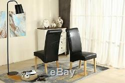 WestWood Premium Dining Chairs Faux Leather Roll Top Dinner Wooden Chair Set