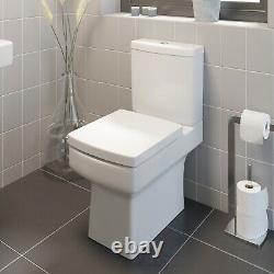White Ceramic Square Modern Toilet Close Coupled Bathroom Pan & Seat WC Bathroom