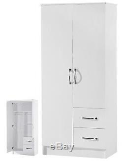 White Combi Wardrobe 2 Door 2 Drawer Marina High Gloss Bedroom Furniture