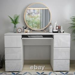 White Dressing Table High Gloss Fronts Makeup Desk 6 Drawers Big Storage Bedroom