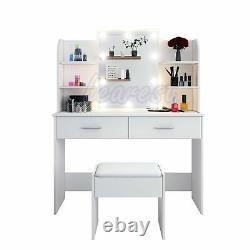 White Dressing Table Makeup Vanity Desk with 2 Drawers Mirror Stool LED Light Set