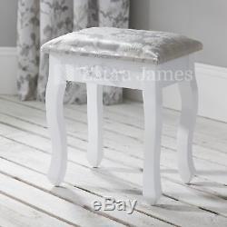 White Dressing Table Mirror & Stool Set 7 Drawer Dresser