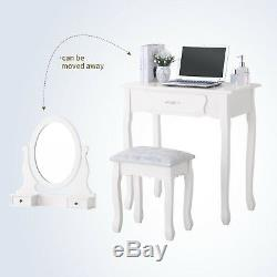 White Dressing Table Wood 360° Mirror Makeup Desk Stool with 3 Drawers Furniture