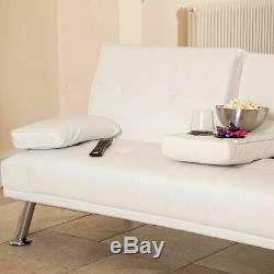 White Faux Leather Sofa Bed Modern 3 Seater Settee Futon Z Bed Armchair Wido