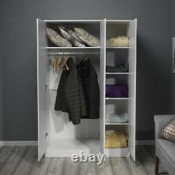 White Gloss 3 Door Triple Mirrored Wardrobe. Full length hanging rail & shelves