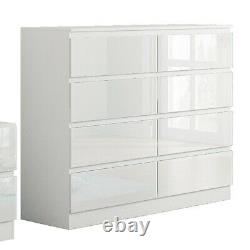 White Gloss Large 8 Drawer Chest. Modern Bedroom Furniture Stands 97cm tall