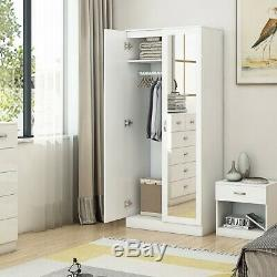 White High Gloss 2 Door Mirrored Wardrobe Bedroom Furniture. Wood Effect Frame