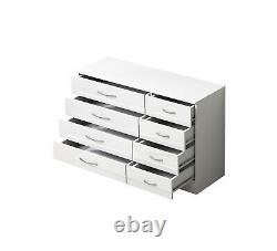 White High Gloss 8 Drawer Sideboard / Cupboard / Buffet Solo / Chest of Drawers