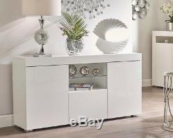 White High Gloss Display Cabinet Sideboard Cupboard Matt Sides Glass Shelf