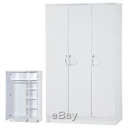 White High Gloss Two Tone Triple Wardrobe 3 Door Adult Large Furniture Unit