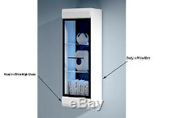 White High Gloss Wall Display Cabinet Glass Door LED Lights Unit Fever New