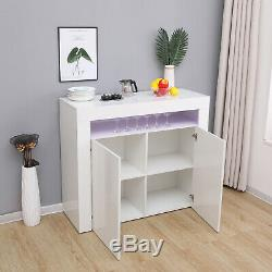 White Sideboard Storage Matt Body&High Gloss Doors Cupboard Cabinet withLED Lights