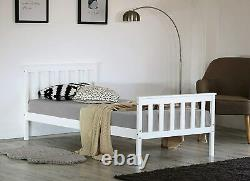 White Solid Wooden Frame. Single 3ft & Double 4ft 6 Bed Frame Mattress Option