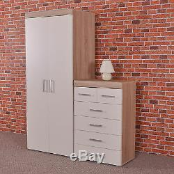 White/Sonoma Oak 2 Door Wardrobe & 4+2 Chest of Drawers Bedroom Furniture 6 Set