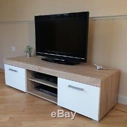 White & Sonoma Oak Effect 2 Door TV Cabinet Plasma Low Bench Stand 140cm Unit
