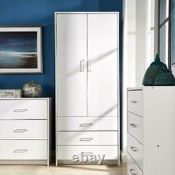 White Wardrobe 2 Door 3 Drawer with Hanging Rail and Storage Shelf Bedroom Unit