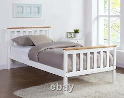 White Wooden Bed Frame Pine Oak Top Double King Single Size and Mattress Option
